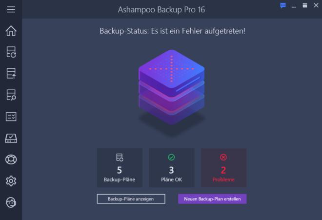 Backup Pro 16 Dark Dashboard