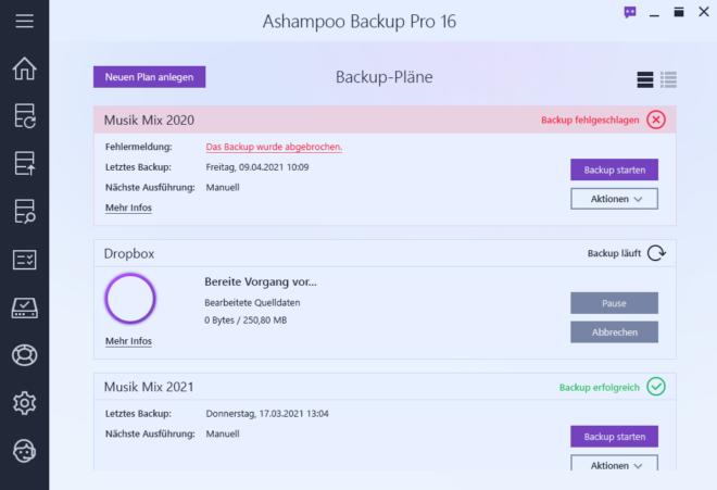 Backup Pro 16 Backup Plan Overview